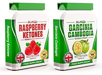 RASPBERRY KETONES x60 + GARCINIA CAMBOGIA WHOLE FRUIT x60 - Raspberry Ketone Max Strength Fat Burners and Garcinia Cambogia Fat Blocker Capsules - Slimming Diet Pills | Suppress Appetite, Boost Metabolism and Block Fat Production for Weight Loss from Slim