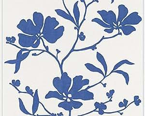 Schöner Wohnen Vliestapete Tapete floral 10,05 m x 0,53 m blau weiß Made in Germany 227850 2278-50