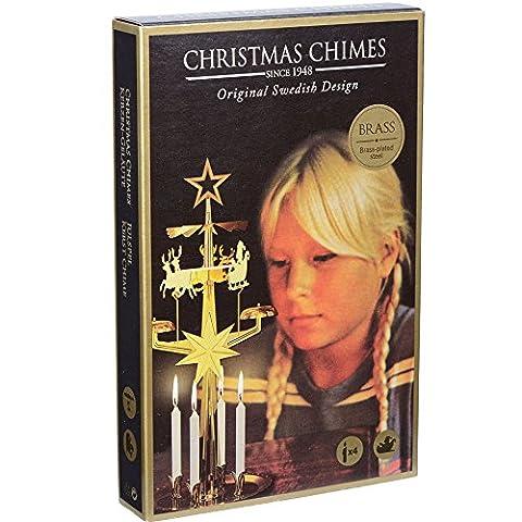 Carillon suédois père Noel doré avec 4 bougies