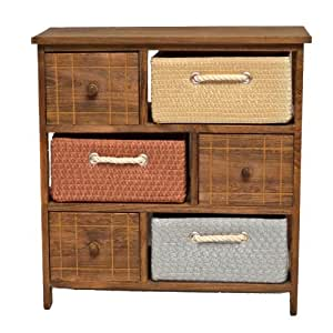 Mobiletto in stile rustico con cassettiere e cestini per il bagno cucina corridoio e camera da - Cassettiere per cucina ...