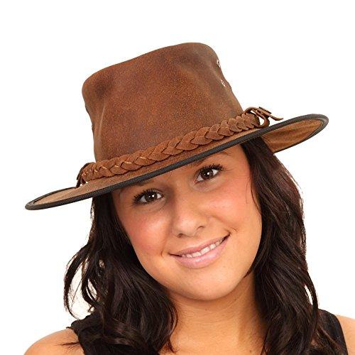 Qualité exceptionnelle - 100%  cuir véritable Australian Bush-Chapeau de Cowboy Style ou brun clair/Chocolat/S, M, L et XL Marron - Marron clair