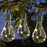 Solar Lichterkette Kugel Wasserdicht mit Lichtsensor Weihnacht sbeleuchtung, Beleuchtung für Haushalt Außen Garten LED Licht Lampen Birnen im Freien LED Glühbirne Kronleuchter Solarlampen (Gelb)