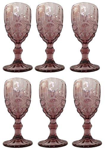 Vintage 6 Teile Set Schleife Weinglas Glas Gläser Weingläser Eisbecher Wasserglas Longdrinkglas Wasserkrug (lila)