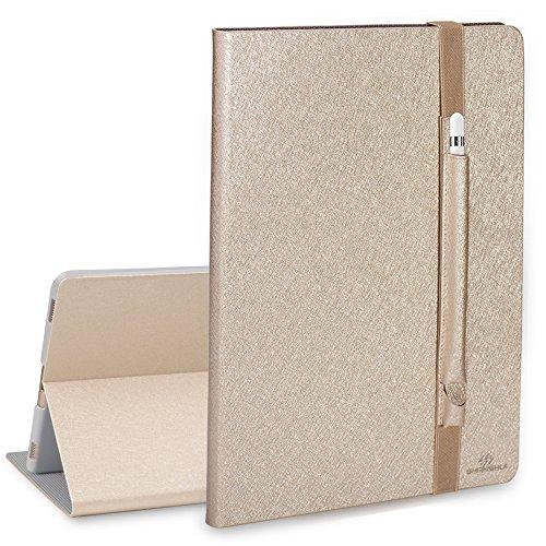 SHANSHUI Kompatibel mit iPad Pro 12.9 Hülle mit Stifthalter, Smart Case Cover Schutzhülle Tasche mit Auto Schlaf/Wach Funktion und Pencil Hülle in Einem (Champagner)