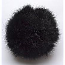 Große Fellbommel schwarz, 9-11cm, Bommel für Mützen, Pelzbommel, Echtfellbommel