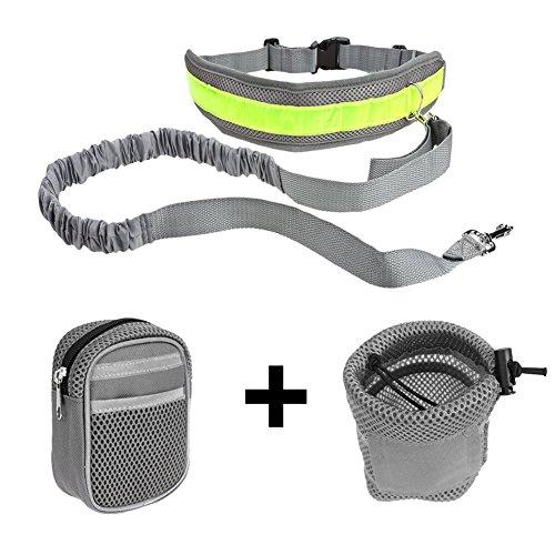 Ploopy Joggingleine aus Nylon für Sportliche Hundebesitzer mit Verstellbarem Bauchgurt. Für Stressfreies Joggen mit Dem Hund, Hände Bleiben Frei Jogging Hundeleine und 2 Tasche Grau