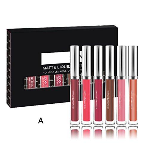 Rouge à lèvres liquide, Shouhengda matte rouge à lèvres Set 6 couleurs imperméable à l'eau Sexy Pigmented Lipgloss maquillage cosmétiques A01