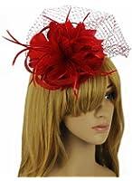 Womens Mesh Net Flowers Hair Fascinator Hat Red