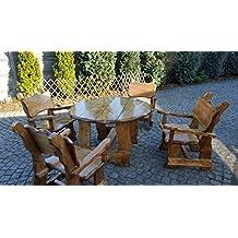 Wunderbar Massivholz Gartenmöbel   Rustikale Sitzgruppe Gartentisch Rund Mit 4  Stühlen Mit Armlehne