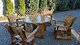 Massivholz Gartenmöbel - rustikale Sitzgruppe Gartentisch rund mit 4 Stühlen mit Armlehne