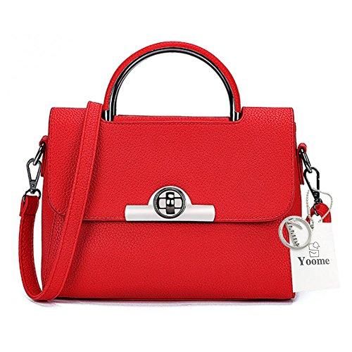 Sacchetti alla moda Yoome per le ragazze Lichee Patern Top Bag Handle Borse eleganti in pelle Vegan per le donne - Borgogna Rosso