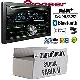 Skoda Fabia 2 - Pioneer FH-X840DAB 2-DIN - Bluetooth | DAB+ Digitalradio | CD | USB | Spotify für iPhone | Autoradio - Einbauset