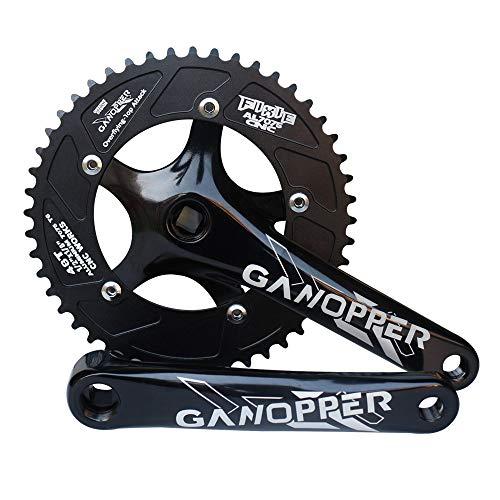 GANOPPER 48T 48 Gang Rennrad Kurbelgarnitur Aluminium Aluminium 130 BCD Vierkant 175mm Single Speed Fixie Fixed Gear Fahrrad-Kettensatz (Schwarz) -