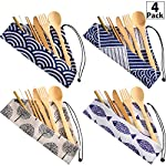 4 Sets Bamboo Travel Utensils Set, Reusable Bamboo Utensil Fork Knife Spoon Chopsticks Straw Cleaning Brush for Travel Picnic Office School