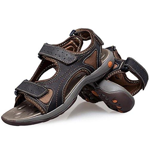 SHANGXIAN Unisex adulti/bambini genuino cuoio sandali/infradito in estate Black