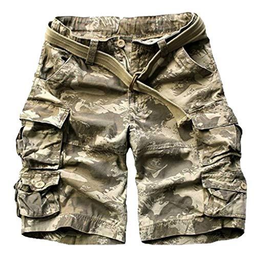 Xmiral Shorts Herren Einfarbig Cargohose Zipper-Taste Hose mit Gürtel Multi-Pocket Mehrere Farben Seil Werkzeug Tasche (Gold,L)