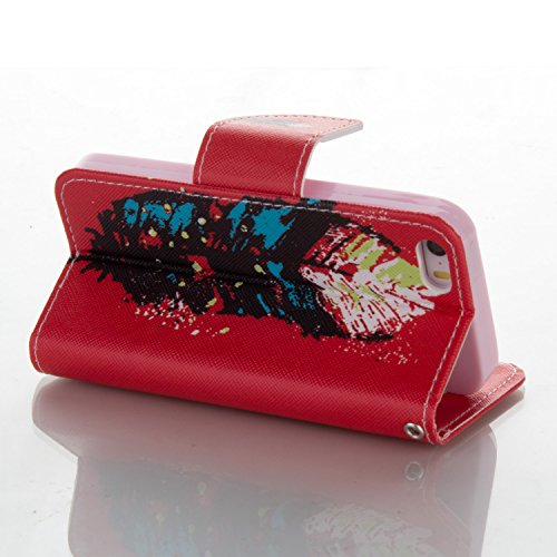 SainCat Cover iPhone 5 / 5s / SE,Fashion Design Dipinto Stand Intelligente Pelle PU Flip Stare Supporto Cover Case Caso,Elegante Pieghevole Capovolgere Leather Copertinat Caso Con Porta Carte Di Credi Rosso Piuma