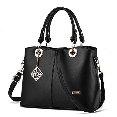Magic Zone Frauen Leder Handtaschen Top Handle Satchel Tote Taschen Schultertaschen (Zip-aktentasche Top)