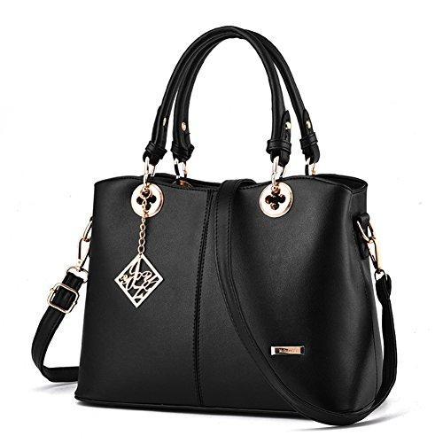 Magic Zone Frauen Leder Handtaschen Top Handle Satchel Tote Taschen Schultertaschen (Bag Handtasche Zippered Tote)