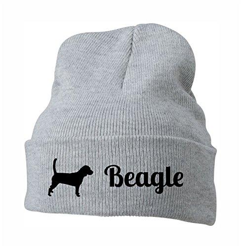 Siviwonder Strickmütze - Beagle Jagd Jagdhund Jäge Baegle - Stickerei Hund Winter Mütze Wintermütze Beanie Mütze hellgrau-schwarz -