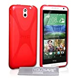Yousave Accessories Coque HTC Desire 610 Etui Rouge Silicone Gel X-Ligne Housse