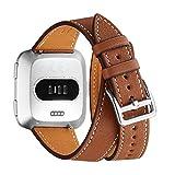 WFEAGL Bracelet Compatible pour Bracelet Fitbit Versa,Sangle de Cuir Bande de Remplacement Compatible pour Fitbit Versa Fitness Smart Watch (Double Tour Marron+Boucle Argent)