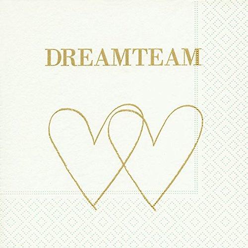 Preisvergleich Produktbild Servietten (2er Set / 40Stück) 3-lagig 33x33cm Dreamteam Hochzeit