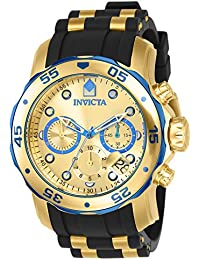 invicta watches shop amazon uk invicta men s pro diver quartz watch gold dial chronograph display and multicolour pu strap 17887