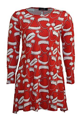 Oops Outlet Pour Femmes Noël Robes À Manches Longues Femmes Olaf Santa Cadeaux & Cloches Bonhomme De Neige Noël Swing Grande Taille 8-26 Rouge