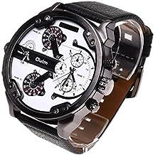 Dual tiempo Reloj de pulsera - OULM Hombres lujo militar ejercito dual tiempo cuarzo dial grande reloj de pulsera blanco