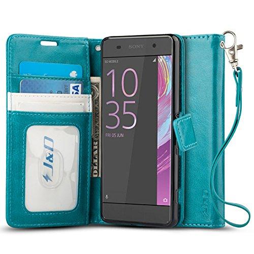 J & D Xperia XA Hülle, [Handytasche mit Standfuß] [Slim Fit] Robust Stoßfest Aufklappbar Tasche Hülle für Sony Xperia XA - Aqua
