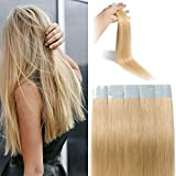 Bande Adhesive Extension Rajout Cheveux Naturel 100% Cheveux Humain Remy Pose a Froid...