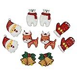 Princess-J Christmas Bell Santa Claus Reindeer Bear Gloves Clip on Earrings for Kids Teen Girls Women Gift Pack of 5
