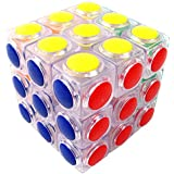 V5-Space® 3x3x3 Transparent Pillowed Buttoned Stickerless Speed Puzzle Cube Ultra-Smooth Magic Cube