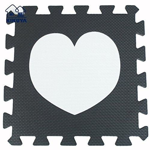 Menu Life Eco souple Tapis de jeu pour enfants en mousse EVA Tapis Tapis de sol 30 x 30 x 1 cm, Black & White Heart, 20pcs
