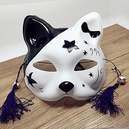 Zantec Japanische Fuchs Halbmaske mit Quasten und Kleinen Glocken Cosplay Maske für Masquerades Festival Kostüm Party Show