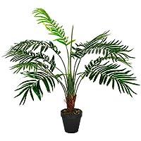 Homescapes Mini-palmier artificiel vert feuillage dense en pot 70 cm