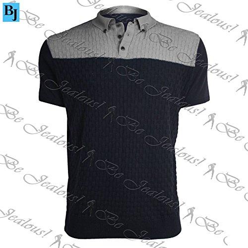 Be Jealous - Herren Poloshirt T-Shirt Kurzärmelig Kragen Fein Gestrickt Knöpfe Kontrast Grau Marineblau