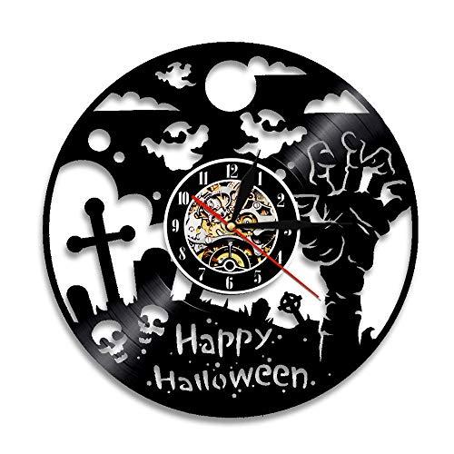 OLIAEO 1 Stück Happy Halloween Wanduhr Schallplatte LP Uhr Halloween Party Zombie Hand Ghost Schädel Wandkunst Dekor, Keine Led