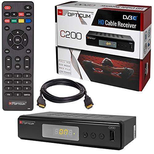 HB-DIGITAL Set: Opticum HD C200 Receiver für digitales Kabelfernsehen mit Aufnahmefunktion PVR (HDMI, SCART, USB 2.0, Mediaplayer) + HDMI Kabel