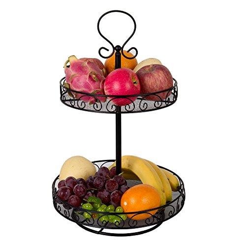 vanra drehbar Früchte, Korb zinntheken Ständer Metall Draht Obstschale Spice Rack, metall, schwarz, 2 Ablagefächer Metal Plate Rack