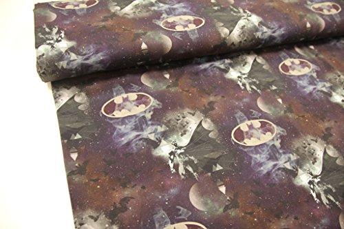 Stoff / 50cmx140cm / Kinder / beste Jersey-Qualität / Jersey Lizenzstoff Batman grau-schwarz
