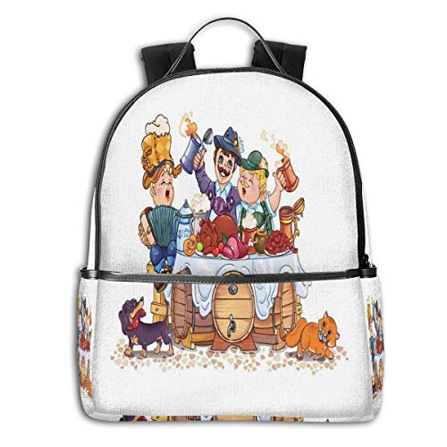 College School Backpacks,Colorful Bavarian Autumn Season Celebration Illustration with Beer and Pork,Casual Hiking Travel Daypack Bavarian Beer House