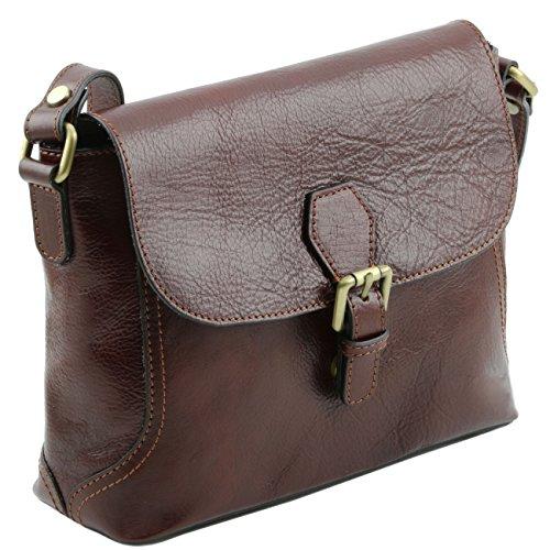 Tuscany Leather Jody - Sac bandoulière en cuir avec rabat Marron Sacs à bandoulière en cuir Marron foncé