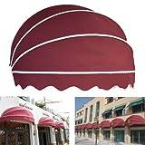 Shsyue® 1.5m Alulegierung Halbrunde Versenkbare Manuelle Markise Schutz vor Sonne Regen für Gebäude Fenster / Tür / Balkon Moderne Dekorateur (Rot)
