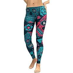 Cebbay Pantalones Yoga Mujeres Leggins de Fitness para Mujer Liquidación Pantalones Chandal Deportivos con Estampado de Esqueleto Calaveras Mallas Ropa Running (Azul, Large)