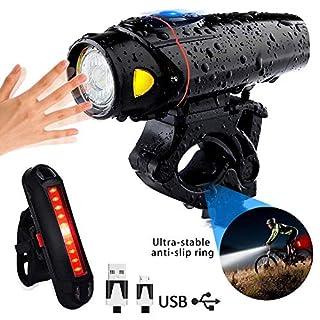 LED Bike Lights, AOMEES LED Bike Light set Torch Front Headlight & Tail Light USB Rechargeable