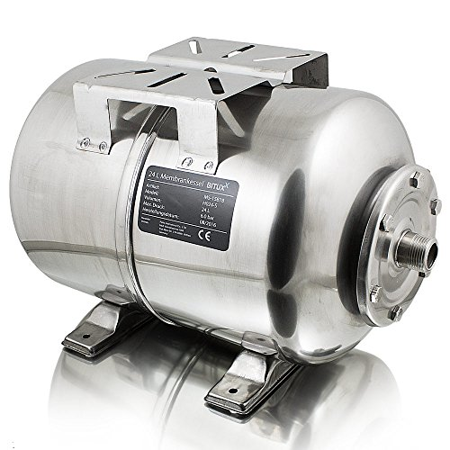 BITUXX® Edelstahl Membrankessel 24L Druckkessel Hauswasserwerk Kessel inkl Membran 1 Zoll Anschluss max. Druck 6 Bar - Druck-ventil Kessel