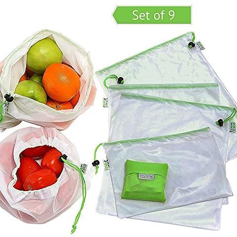 Rybit réutilisable en maille 9Lot de sacs + 1BONUS pliable Shopping Grocery Tote, ECO Friendly Solution au sac plastique, Excellent de stockage de Produire des fruits/légumes, jouets, travaux manuels, lavable, sans BPA,, EN 3tailles