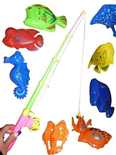 A95 Tolles 11 teiliges Angelspiel mit großen Tieren in praktischer Transportbox! Mit Magneten...Angelspaß nicht nur für Kinder!